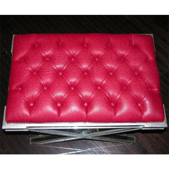 Modern Pair of Custom Silver X-Band Benches with Red Leather For Sale - Image 3 of 6