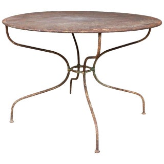 1930s French Round Metal Garden Table