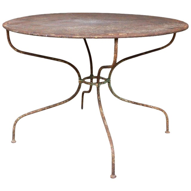 French Metal Garden Furniture 1930s french round metal garden table chairish 1930s french round metal garden table workwithnaturefo