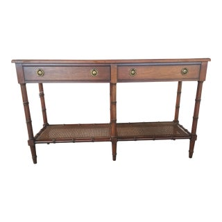 Hekman Faux Bamboo Console Table With Caning For Sale