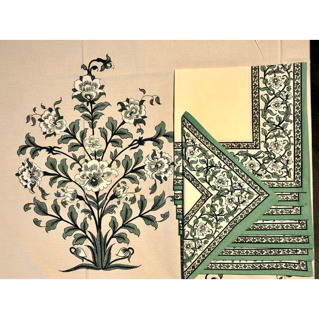 "Brigitte Singh ""Gustav Peony"" hand block printed tablecloth and napkin set. Set Includes rectangular tablecloth (70"" x..."