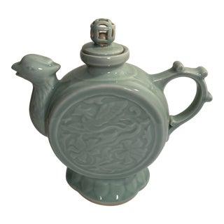 Late 20th Century Ceramic Round Phoenix Design Teapot For Sale