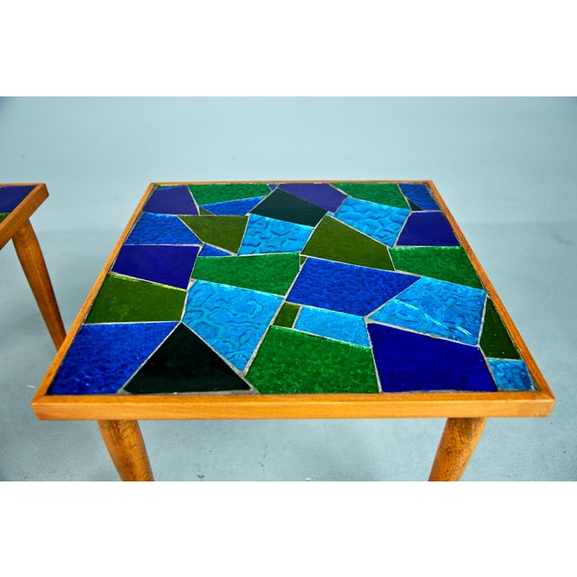 Blue 1960 Georges Briard Mosaic Top Side Tables - Set of 3 For Sale - Image 8 of 10