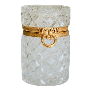 Antique French Cut Crystal Trinket Box For Sale