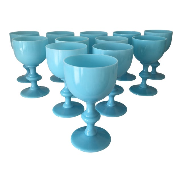 French Portieux Vallerysthal Blue Opaline Wine Goblets - Set of 12 For Sale
