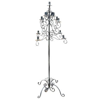 Gothic Black Iron Candelabra For Sale