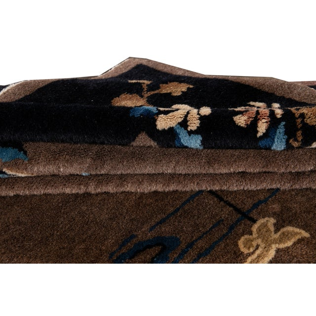 1920s Early 20th Century Antique Art Deco Chinese Piking Wool Rug For Sale - Image 5 of 13