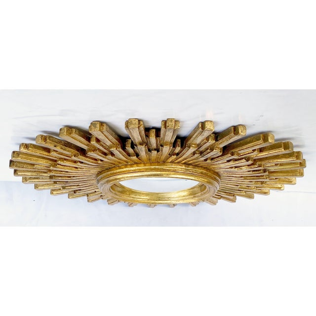 Gold French Starburst or Sunburst Convex Mirror with Gilt Cast Frame For Sale - Image 8 of 13