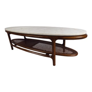 Mid-Century Modern Marble-Top Coffee Table With Cane Shelf For Sale