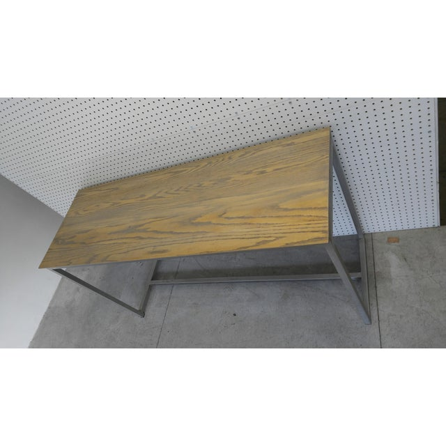 Oak Wood Top & Metal Base Console For Sale - Image 5 of 7