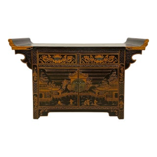 Antique Chinese Lacquer Painted Altar Cabinet For Sale