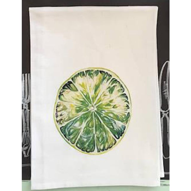 Not Yet Made - Made To Order Watercolor Lime Tea Towel For Sale - Image 5 of 5