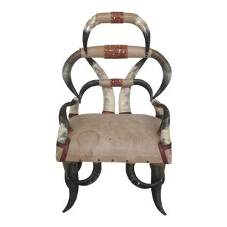 1970s Vintage Custom Made Texas LongHorn High Back Ranch Chair For Sale