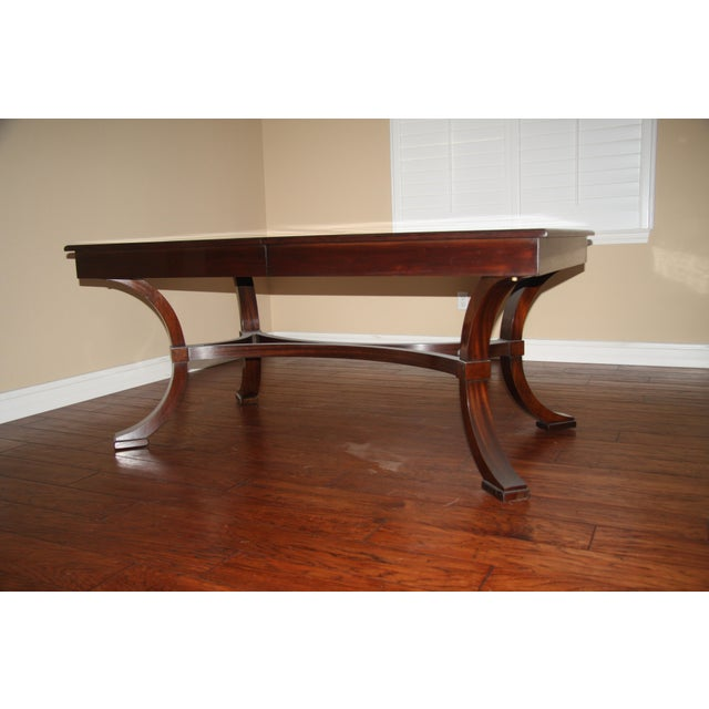 French Williams-Sonoma Home Solid Mahogany Dining Table For Sale - Image 3 of 10