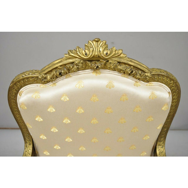 Late 19th Century 19th Century French Louis XV Style Gold Gilt Wood Parlor Salon Suite - 3 Pieces For Sale - Image 5 of 13