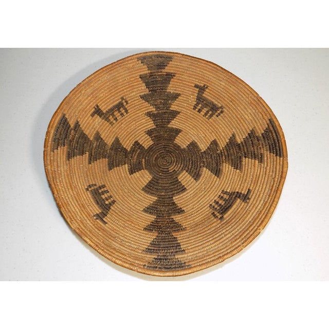 Native American Art Antique Native American Apache Woven Polychrome Horses Basket Bowl For Sale - Image 4 of 10