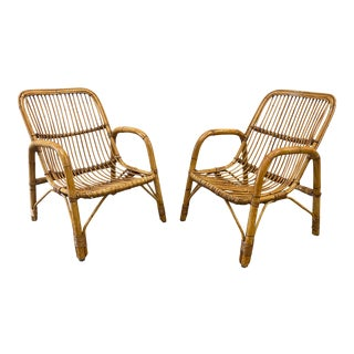 Pair of Vintage Italian Bamboo Arm Chairs - Mid 20th C For Sale