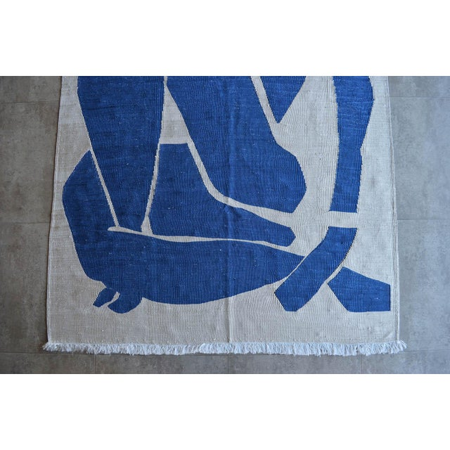 Blue Henri Matisse - Blue Nude 3- Inspired Silk Hand Woven Area - Wall Rug 4′4″ × 6′9″ For Sale - Image 8 of 12