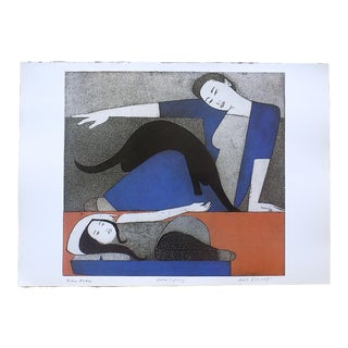 """Vintage Lithograph-""""Blue Robe""""- Will Barnet-Signed/Titled For Sale"""