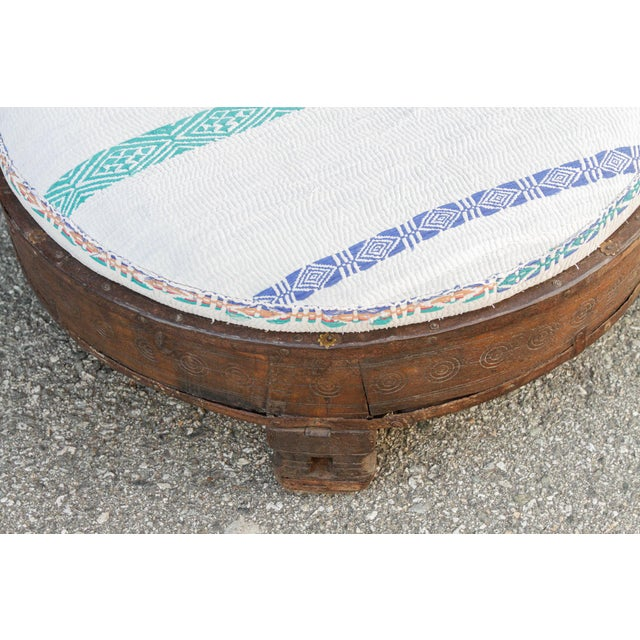 1930s Madhuri Carved Chakki Kantha Ottoman With Kantha Fabric Uphosltery For Sale - Image 5 of 12