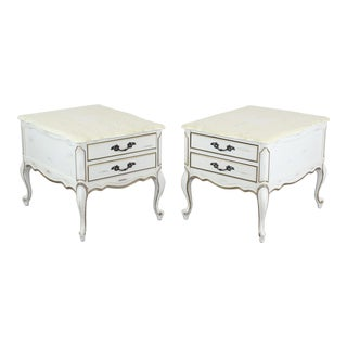 Pair of French Provincial Nightstands With Marble Tops, Pair of Cream Nightstands For Sale