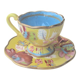 Hand Painted 22kt Tracy Porter Tea Cup & Saucer - A Pair