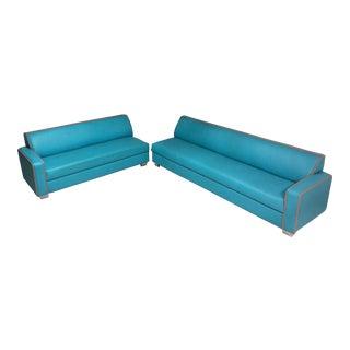 Turquoise & Orange Sofas - A Pair For Sale