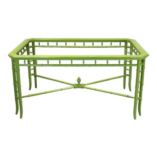 Mid Century Faux Bamboo Green Lacquered Dining Table