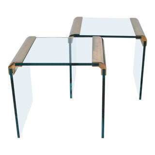Pair of Pace Furniture Leon Rosen Brass and Glass Side Tables For Sale