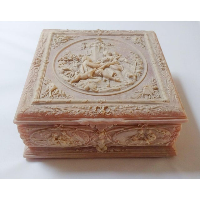 "Stone Vintage Pink Incolay ""Marie Antoinette"" Stone Composite Jewelry Box With Tray For Sale - Image 7 of 7"