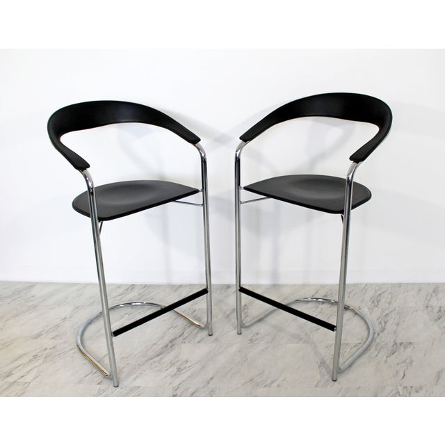 1970s Vintage Thonet Italian Mid Century Modern Bar Stools - a Pair For Sale In Detroit - Image 6 of 9