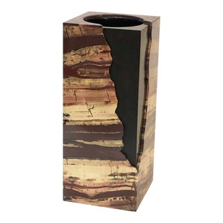 Unusual Rectangular Carved Agate Vase For Sale