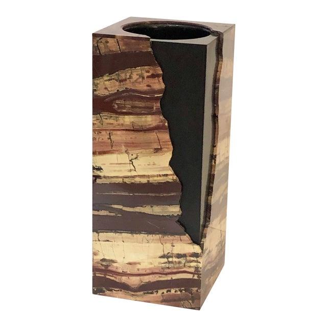 Unusual Rectangular Carved Agate Vase For Sale