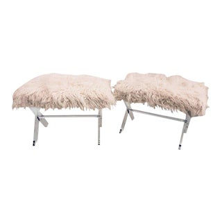 Hollywood Regency Style Lucite X Form Base Benches - A Pair