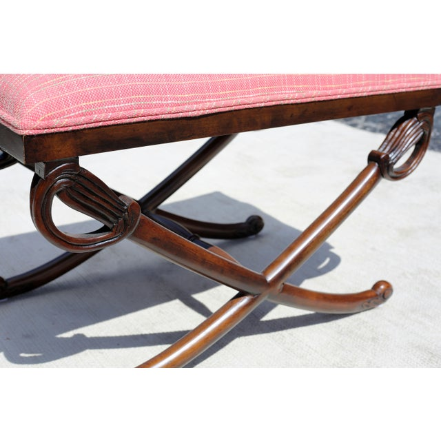 Boho Chic Carved Wood Sword Leg Bench With Pink Upholstery For Sale - Image 3 of 7