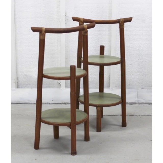 Asian Boho Side Tables/Plant Stand For Sale - Image 3 of 5