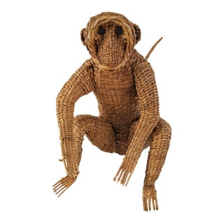 Mario Lopez Torres, Styled Woven Reed Monkey, Mid-Century For Sale