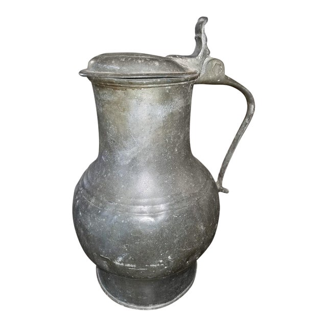 18c American Colonial Pewter Tankard Fbt Davenport For Sale