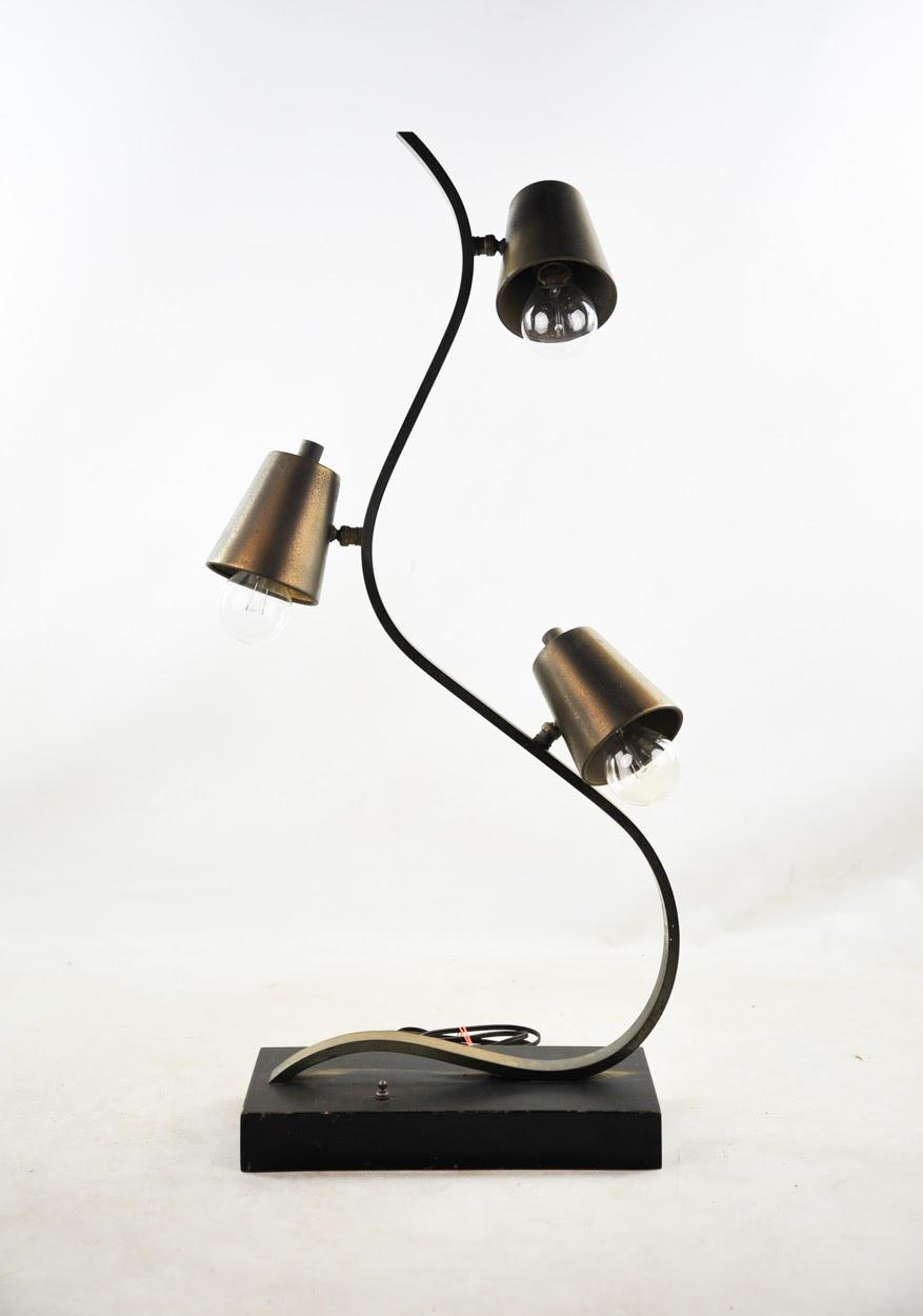 Brass Three Light Curvilinear Table Lamp Chairish