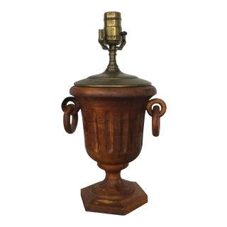 Vintage Carved Wood Urn Lamp