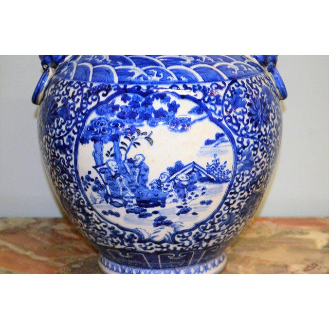 1930s Large Blue & White Chinese Porcelain Vase with Figural Subjects and Foo Handles For Sale - Image 5 of 9
