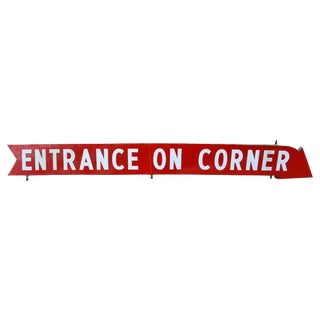 "Sign as Arrow With Paint on Metal, Circa 1930s ""Entrance on Corner"" For Sale"