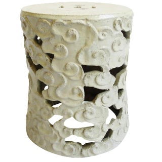 White Ceramic Cloud Stool For Sale