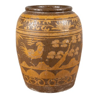 Large Chinese Antique Jar with Mustard Glaze, Bird and Floral Motifs, circa 1900 For Sale