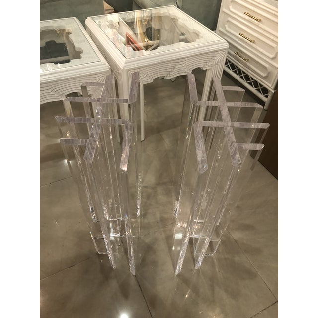 Vintage Hollywood Regency Radiator Lucite Dining Table Desk Bases -A Pair For Sale - Image 10 of 12
