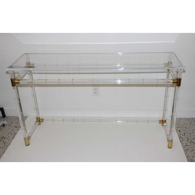 Mid-Century Modern Lucite and Brass Console Table by Charles Hollis Jones For Sale - Image 3 of 13