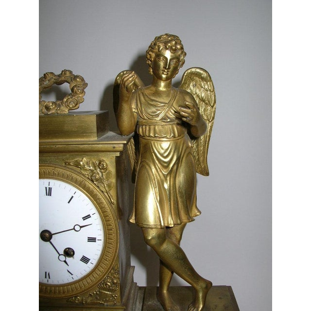 Charles 19th Century French Charles X Gilt Bronze Dore Figural Mantel Clock For Sale - Image 4 of 11