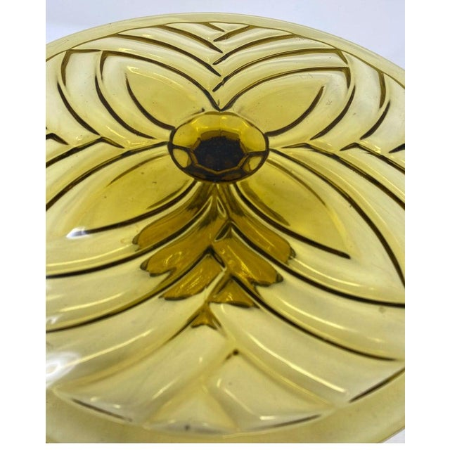French Olive Glass Patisserie Stand For Sale - Image 3 of 6