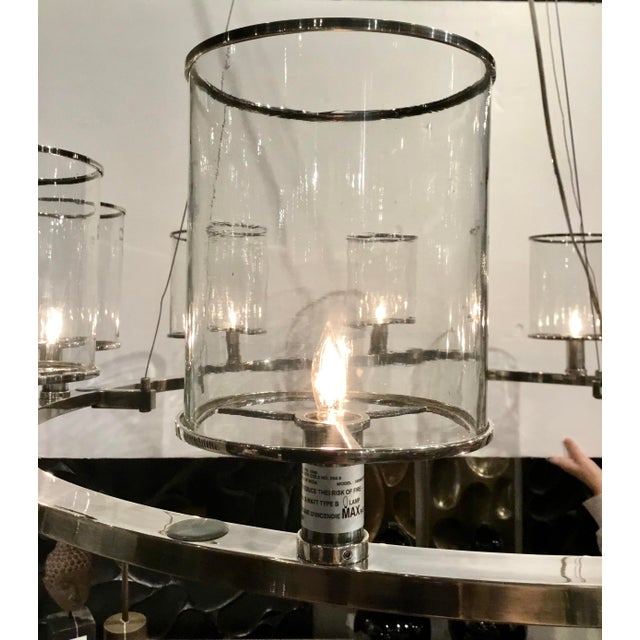 2010s Arteriors Modern Silver Metal and Glass Lorena Fixed Chandelier For Sale - Image 5 of 7