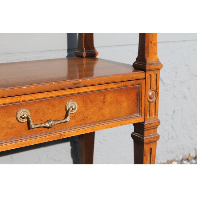 1960s Traditional Walnut 2 Drawer Hall Console Table For Sale - Image 10 of 13